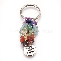 Natural Gemstone Keychain, with Brass Findings, Flat Round with Ohm, 77mm; Pendant: 19x15x2mm(X-KEYC-JKC00163-04)