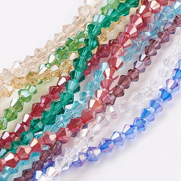 4mm Mixed Color Bicone Electroplate Glass Beads