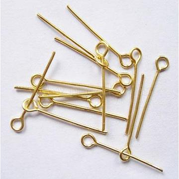 Brass Eye Pin, Cadmium Free & Lead Free, Golden, about 1.6cm long, 0.7mm thick, hole: about 2mm, about 360pcs/20g(X-EPC1.6cm-G)