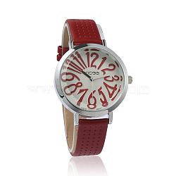 Imitation Leather Wristwatch Quartz Watches, with Alloy Watch Head, Japan PC Watch Movement, Platinum, Brown, 230x14mm, Watch Head: 41.5x35x10mm(X-WACH-I014-F03)