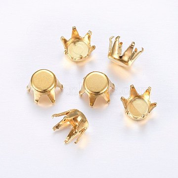 304 Stainless Steel Rhinestone Claw Settings, Golden, 3x3mm; Tray: 2.5mm(STAS-O098-10G-01)
