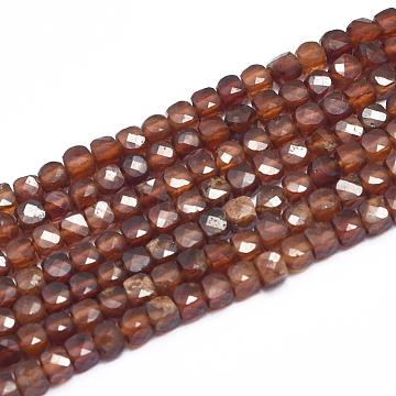 3mm Cube Garnet Beads