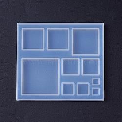 moules en silicone, moules de résine époxyde, pour la résine UV, fabrication de bijoux de bricolage, carré, blanc, 87x77x6.5 mm(X-DIY-F033-04A)