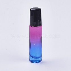 verre dégradé couleur huile essentielle bouteille de parfum vide, avec roller, coloré, 8.55x2 cm; capacité: 10 ml(X-MRMJ-WH0011-B09-10ml)