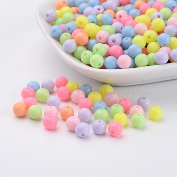 Round Solid Color Opaque Acrylic Beads, Mixed Color, 6mm, Hole: 2mm(X-SACR-S037-M02-A)
