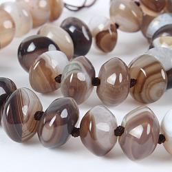 """Brins de perles rondelles en agate naturelle teintée brillante, rosybrown, 14x8mm, Trou: 1mm, Environ 40 pcs/chapelet, 16.15""""(G-E212-10)"""