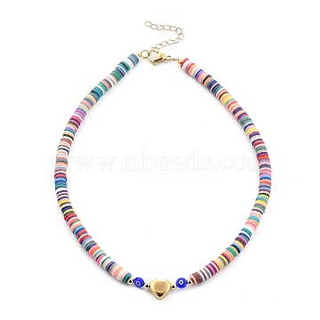 Handmade Polymer Clay Heishi Beaded Necklaces, with Evil Eye Lampwork Beads, Brass Round Beads, 304 Stainless Steel Heart Beads and Lobster Claw Clasps, Colorful, 16 inches(41cm)(NJEW-JN03064-01)