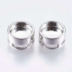 Paramètres de cabochon de perle en laiton, plat rond, Breloques coulissants, platine, plateau: 8 mm; 10x6 mm, Trou: 1mm(KK-I611-10mm-01P)