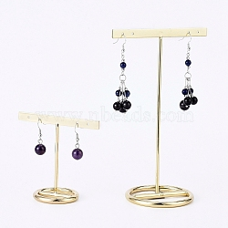Iron T- Shape Earring Display Stand, for Hanging Dangle Earring, Golden, 7.2cm and 15.3cm; 2pcs/set(EDIS-E025-07)