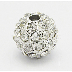 Metal Alloy Rhinestone Beads, Round, Platinum, Clear, Size: about 10mm in diameter, hole: 2mm.(X-ALRI-Q201-5)