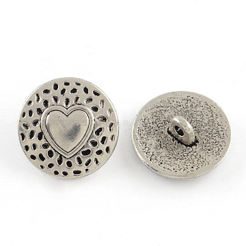 Tibetan Style Alloy Shank Buttons, Cadmium Free & Nickel Free & Lead Free, Flat Round with Heart, Antique Silver, 18x7mm, Hole: 2mm; about 327pcs/1000g(TIBE-Q044-04AS-NR)