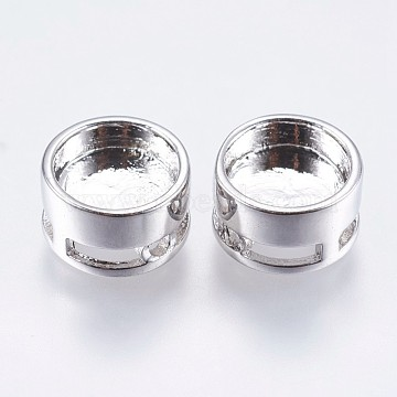 Brass Bead Cabochon Settings, Flat Round, Slide Charms, Platinum, Tray: 8mm; 10x6mm, Hole: 1mm(KK-I611-10mm-01P)