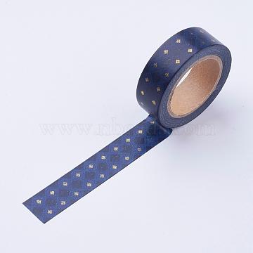 DIY Scrapbook Decorative Adhesive Tapes, Rhombus, DarkBlue, 15mm(DIY-F014-B14)