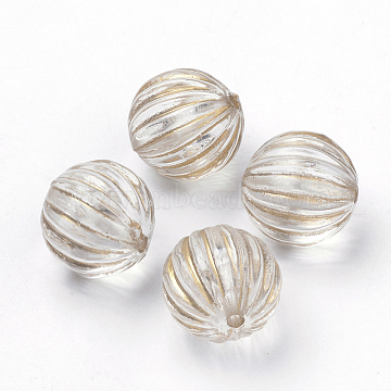 Plating Transparent Acrylic Beads, Golden Metal Enlaced, Corrugated Round, Clear, 12mm, Hole: 1.5mm(X-PACR-Q115-60-12mm)