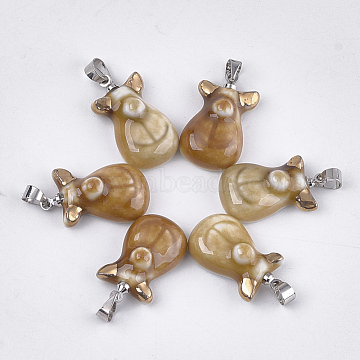 Handmade Porcelain Pendants, Bright Glazed Porcelain, with Brass Findings, Platinum, Peru, 22.5x13x8mm, Hole: 4.5x4mm(PORC-T002-19)