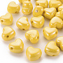Opaque Acrylic European Beads, Large Hole Beads, Pearlized, Heart, Gold, 19.5x21.5x14.5mm, Hole: 4mm