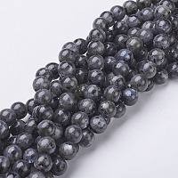 Natural Larvikite/Black Labradorite Beads Strands, Round, about 8mm, Hole: 1mm, about 47~49pcs/strand, 15.5 inches