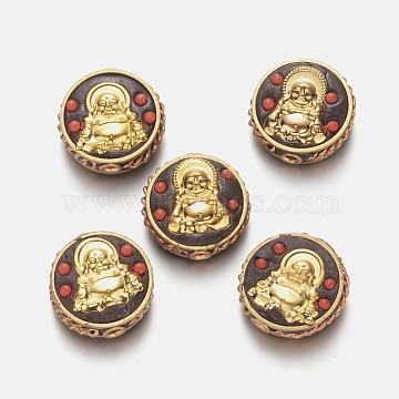 Alloy Beads, with Polymer Clay and Resin Beads, Flat Round with Buddha, Golden, 20x1.8mm, Hole: 2mm(PALLOY-K193-05G)