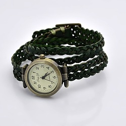 Fashionable Wrap Style Braided Leather Arabic Numerals Watch Bracelets, with Alloy Watch Dial and Clasps, Antique Bronze, DarkGreen, 450x11.5mm, Watch Dial: 33x29x8.5mm(WACH-G013-07)