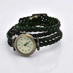 Cuir tressé de style wrap mode chiffres arabes regardent bracelets, avec un alliage cadran de la montre et de fermoirs, bronze antique, darkgreen, 450x11.5mm, Cadran: 33x29x8.5 mm(WACH-G013-07)