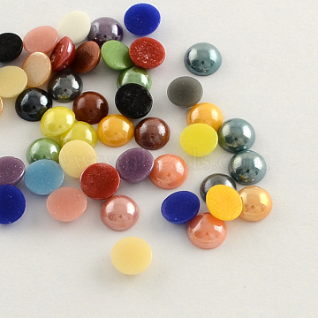 Pearlized Plated Opaque Glass Cabochons, Half Round/Dome, Mixed Color, 7x3mm(X-PORC-S801-7mm-M)