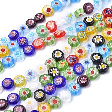Flat Round Handmade Millefiori Glass Beads, Mixed Color, 8x3mm, Hole: 0.5mm; about 48pcs/strand, 14.1 inches(LK-R004-54)