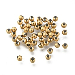 Round Vacuum Plating 304 Stainless Steel Beads, Golden, 4mm, Hole: 1.5mm(X-STAS-F105-03-4mm)