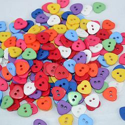 Сладкие сердца кнопки, Пуговицы из cмолы, разноцветные, диаметром около 11 мм , отверстие : 1.5 мм(X-FNA1495)