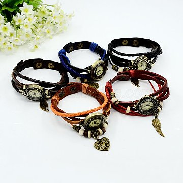 Mixed Color Leather+Alloy Electronic Watch