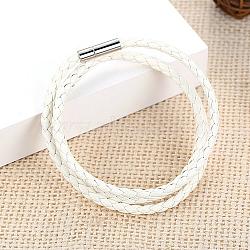 """Trois boucles PU bracelets d'emballage en cuir, avec boucle en laiton magnétique, blanc, 600 mm (23-3/4"""")(BJEW-FF0007-005A)"""