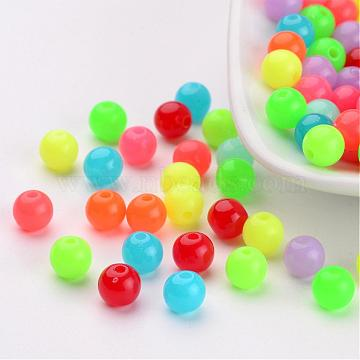 Fluorescent Acrylic Beads, Round, Mixed Color, 6mm, Hole: 1.5mm(X-MACR-R517-6mm-M)