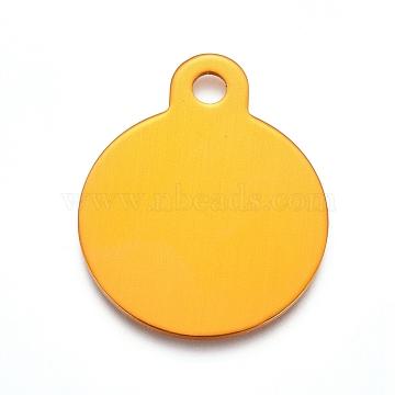 pendentifs en aluminium, estampillage d'une étiquette vierge, plat rond, or, 31x25x1 mm, trou: 3 mm(ALUM-I002-01E)