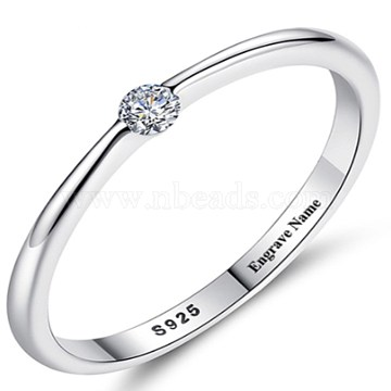 925 Sterling Silver Finger Rings, with Cubic Zirconia, Carved 925, Clear, Platinum, 17.3mm(RJEW-BB35080-P-7)