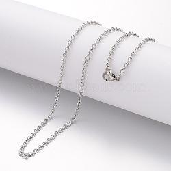 """Création de collier en 304 acier inoxydable, chaînes câblées, avec fermoirs mousquetons, couleur inoxydable, 23.6"""" (600 mm); 2.3mm(MAK-G004-02P)"""