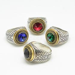 bagues à large bande en verre, avec des résultats d'anneaux d'alliage, plat rond, argent antique et or antique, taille 7~11, couleur mélangée, 17~21 mm(RJEW-T003-32E)