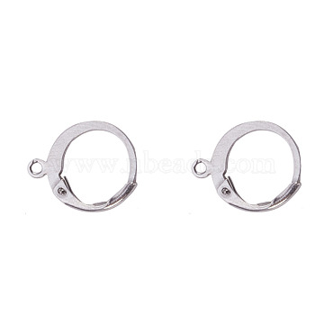 304 Stainless Steel Leverback Earring Findings, with Loop, Stainless Steel Color, 14.5x12x2mm, Hole: 1mm(STAS-I045-02)