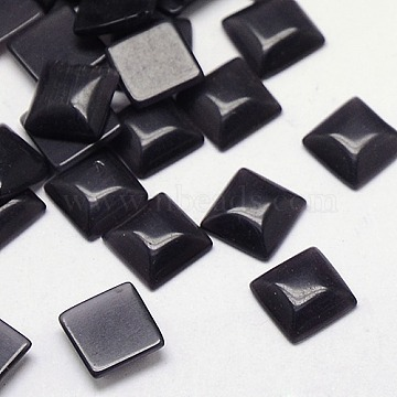 8mm Black Square Glass Cabochons