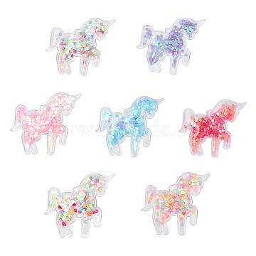 PVC and Paillette Decoration, DIY Craft Decoration, Unicorn, Mixed Color, 52x62x5.5mm(AJEW-F037F)
