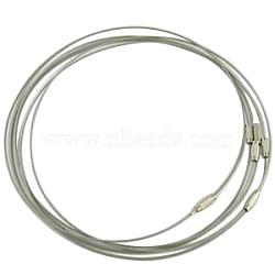 Bracelet en fil d'acier faisant, avec fermoir en alliage, grises , taille: environ 1 mm d'épaisseur, 62 mm de diamètre intérieur (X-TWIR-A001-5)