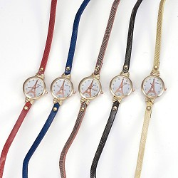 Alloy Watch Head Bracelet Watches, with PU Leather and Rhinestone, 3-Loop, Wrap Bracelets, Flat Round with Tower, Mixed Color, 22inches(56cm), 6mm(WACH-P017-D)