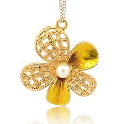 Ton or liens émail en alliage de fleurs, avec cabochons de perles acryliques, or, 48x45x12mm, trou: 1 mm et 3 mm(ENAM-J128-05G)