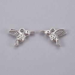 Breloques de colibri de style tibétain en alliage, sans plomb, argent antique, 12x17x3mm, Trou: 2mm(X-TIBEP-1096-AS-LF)