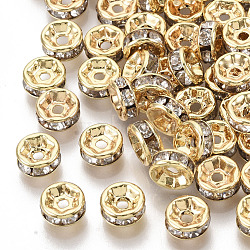 Brass Cubic Zirconia Beads, Flat Round, Clear, Nickel Free, Real 18K Gold Plated, 6x3mm, Hole: 1.2mm(X-KK-T055-024G-NF)