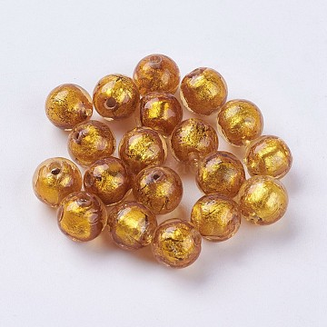 10mm Goldenrod Round Silver Foil Beads