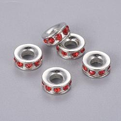 Perles européennes en alliage avec strass, Perles avec un grand trou   , rondelle, de couleur métal platine , light siam, 11x4mm, Trou: 4.3mm(X-MPDL-Q134-3)