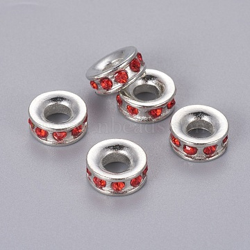 Alloy Rhinestone European Beads, Large Hole Beads, Rondelle, Platinum Metal Color, Light Siam, 11x4mm, Hole: 4.3mm(X-MPDL-Q134-3)