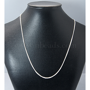 Iron Necklace Making, Iron Twisted Chains with Spring Ring Clasps, Silver Color Plated, 18 inches(X-IFIN-JN00195)