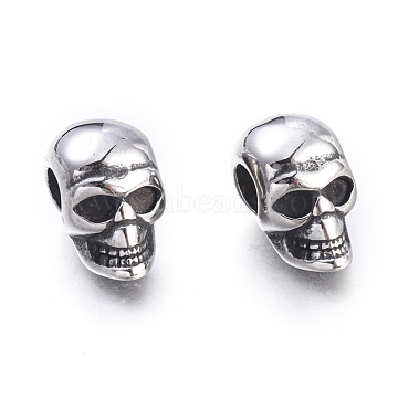 Halloween 304 Stainless Steel European Beads, Large Hole Beads, Skull Head, Antique Silver, 16x9.5x13mm, Hole: 5mm(X-STAS-F243-43AS)