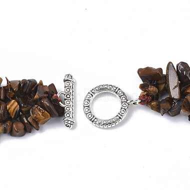 3-Layered Natural Tiger Eye Chip Beaded Necklaces(NJEW-S419-01A)-2