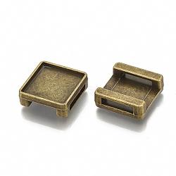 Tibétain charmes de diapositives en alliage de style cabochon paramètres, sans plomb et sans nickel, carré, bronze antique, plateau: 12 mm; 14x14x5.5 mm, trou: 11x2.5 mm(X-TIBE-S317-02-B-FF)